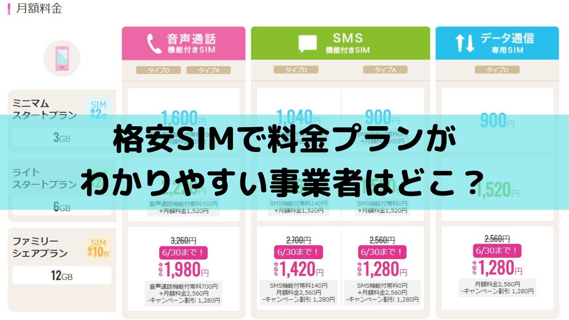 格安SIMで料金プランがわかりやすい事業者はどこ?